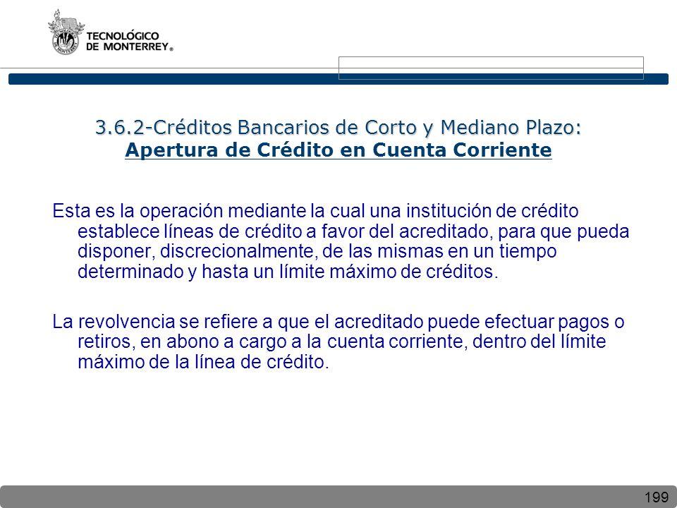 3.6.2-Créditos Bancarios de Corto y Mediano Plazo: Apertura de Crédito en Cuenta Corriente