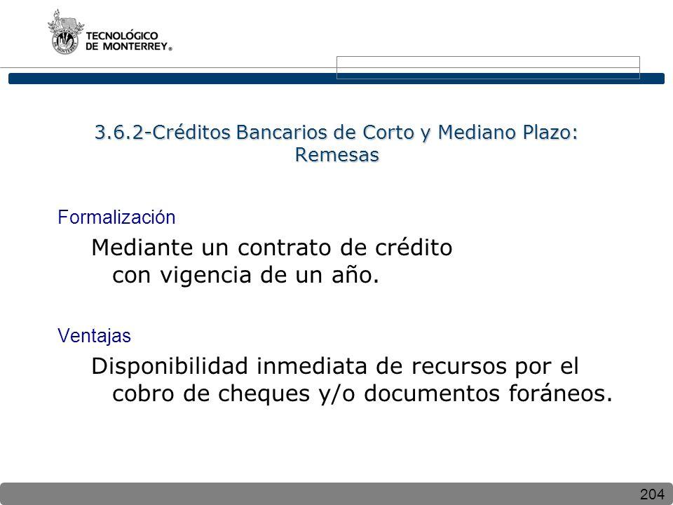 3.6.2-Créditos Bancarios de Corto y Mediano Plazo: Remesas