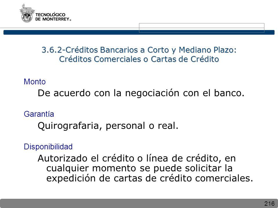 De acuerdo con la negociación con el banco.