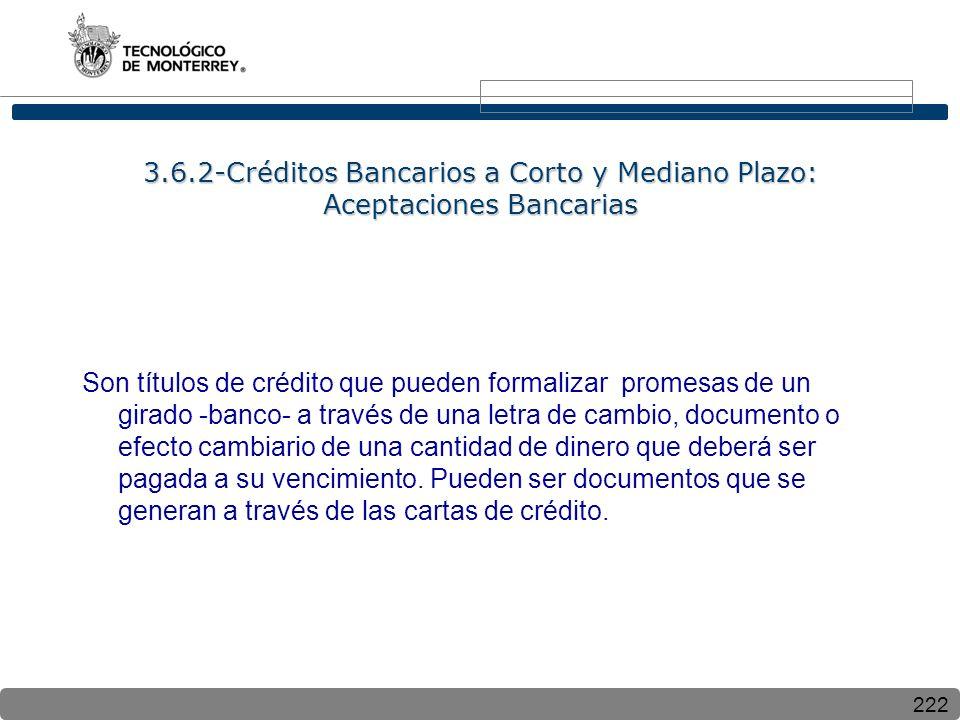 3.6.2-Créditos Bancarios a Corto y Mediano Plazo: Aceptaciones Bancarias