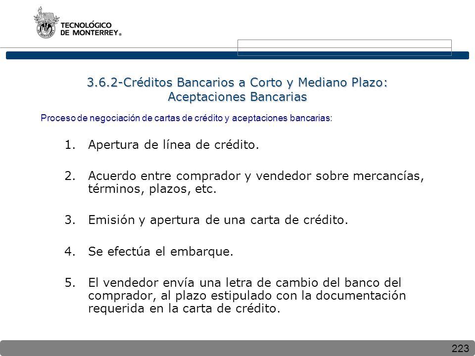 Apertura de línea de crédito.