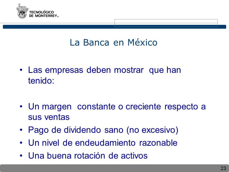 La Banca en México Las empresas deben mostrar que han tenido: Un margen constante o creciente respecto a sus ventas.