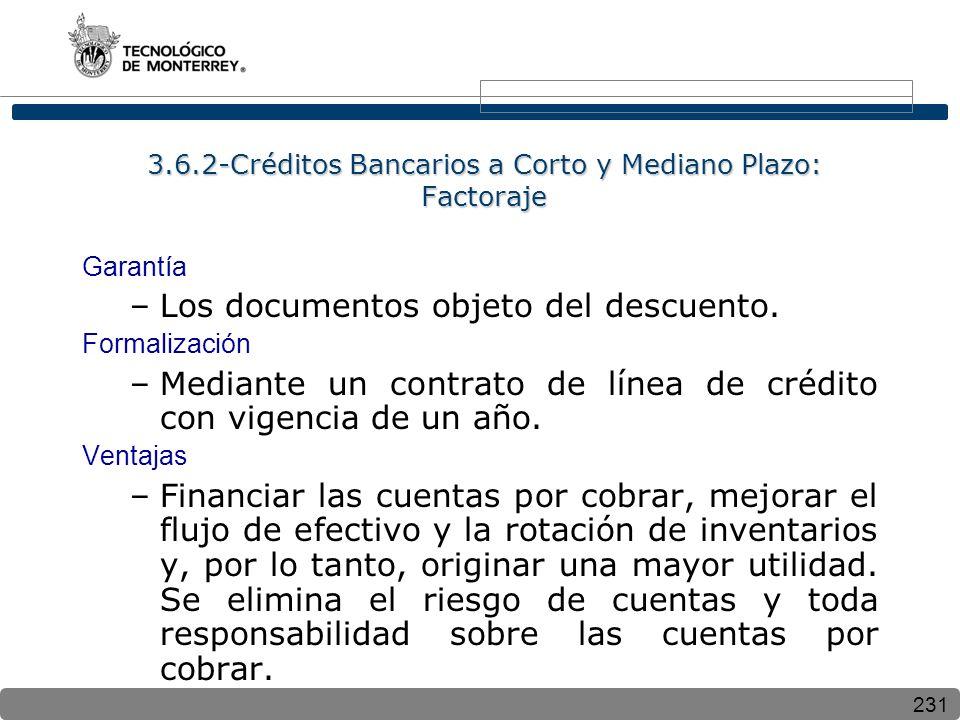 3.6.2-Créditos Bancarios a Corto y Mediano Plazo: Factoraje