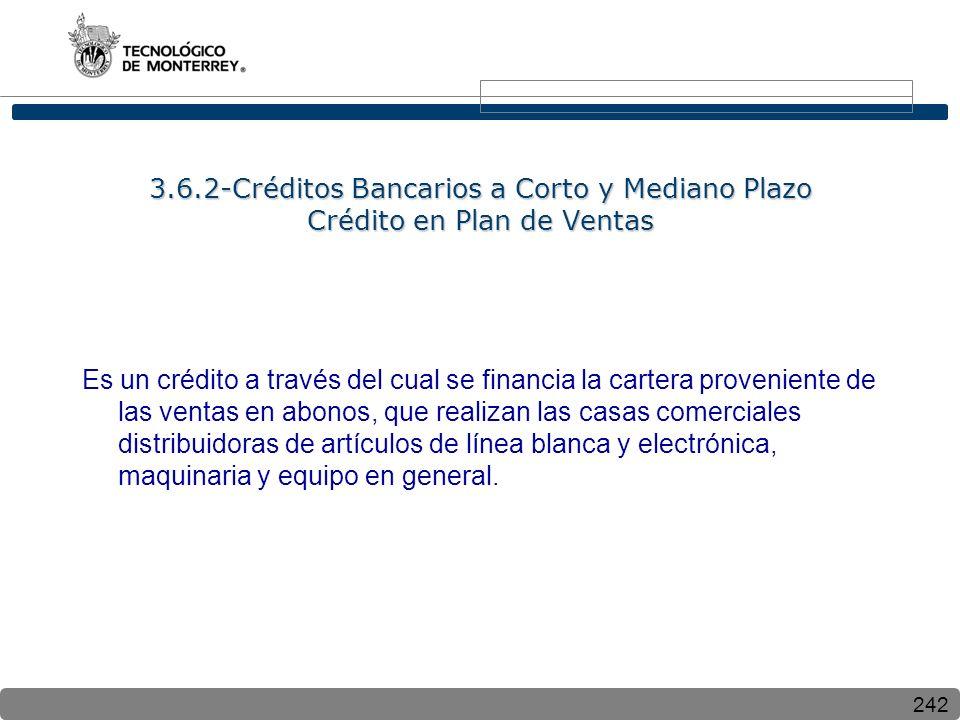 3.6.2-Créditos Bancarios a Corto y Mediano Plazo Crédito en Plan de Ventas
