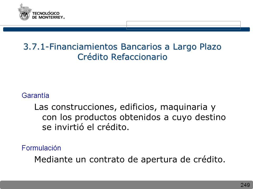 3.7.1-Financiamientos Bancarios a Largo Plazo Crédito Refaccionario