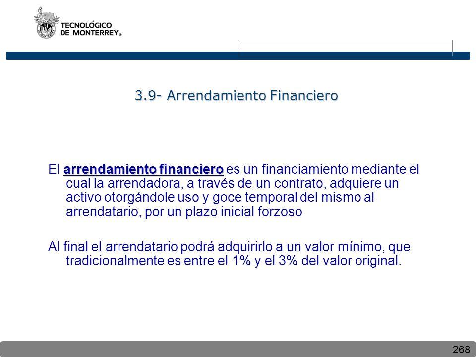 3.9- Arrendamiento Financiero