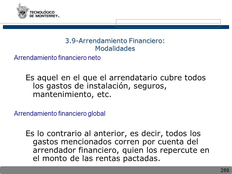 3.9-Arrendamiento Financiero: Modalidades