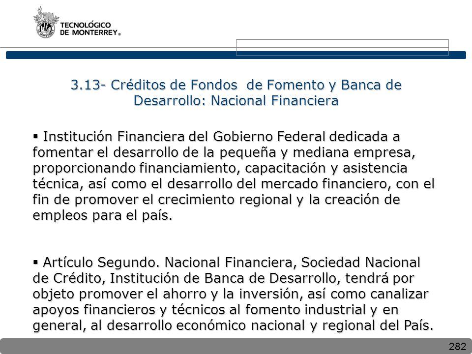 3.13- Créditos de Fondos de Fomento y Banca de Desarrollo: Nacional Financiera