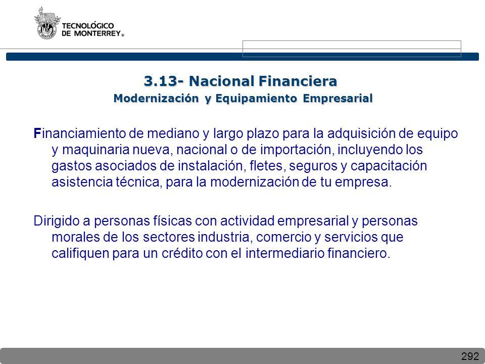 3.13- Nacional Financiera Modernización y Equipamiento Empresarial