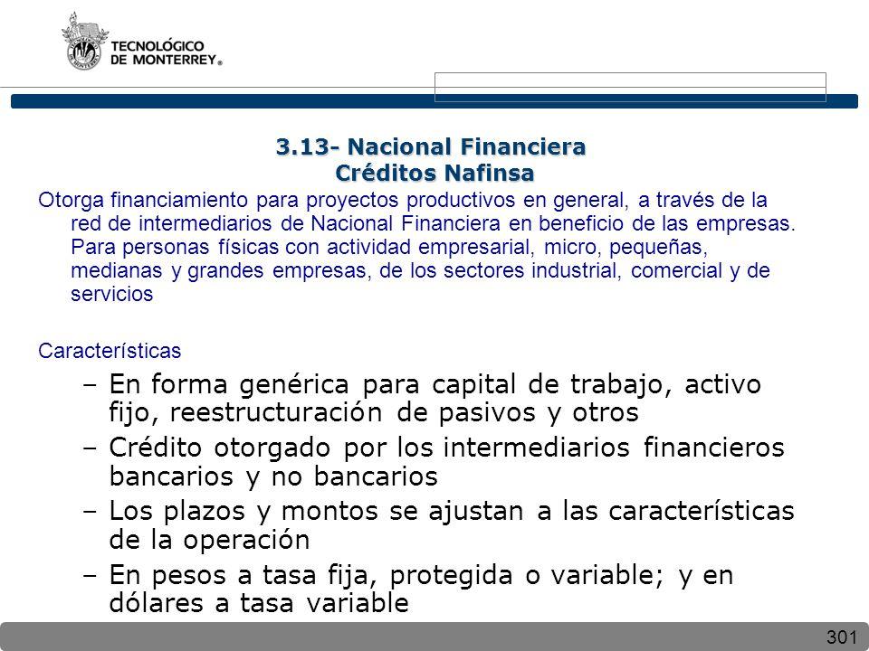 3.13- Nacional Financiera Créditos Nafinsa