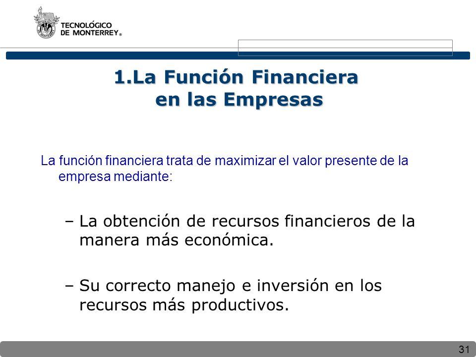 1.La Función Financiera en las Empresas
