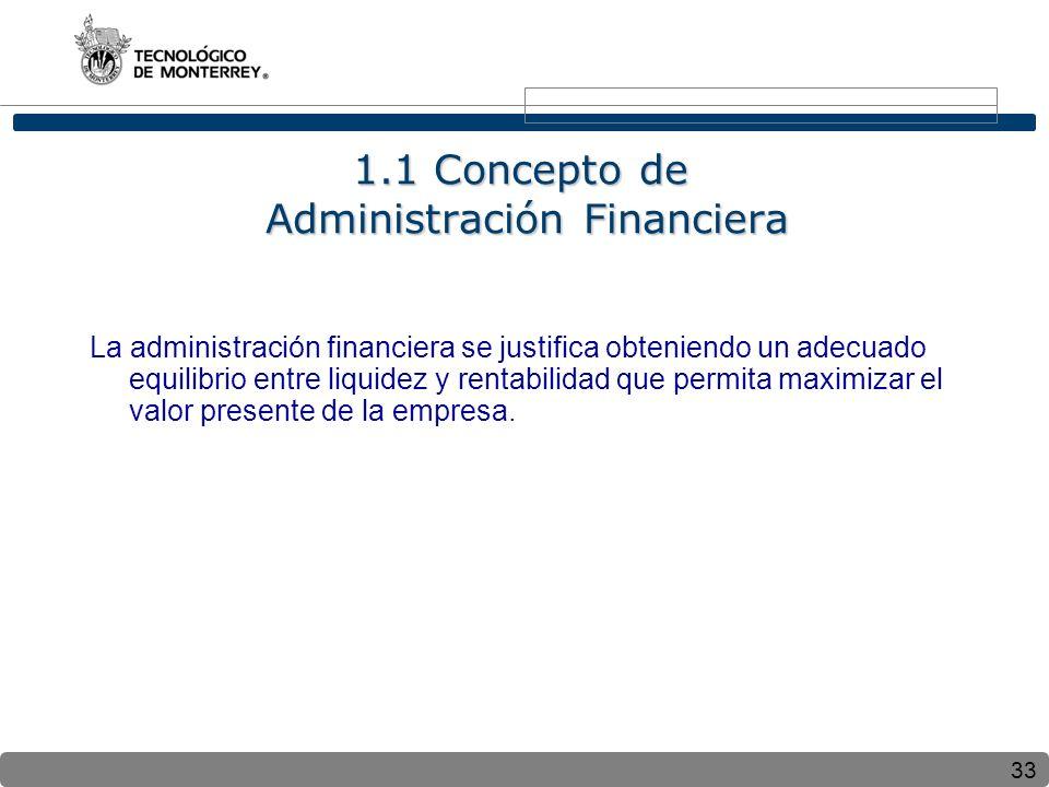 1.1 Concepto de Administración Financiera