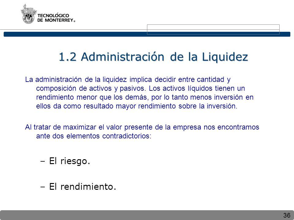 1.2 Administración de la Liquidez