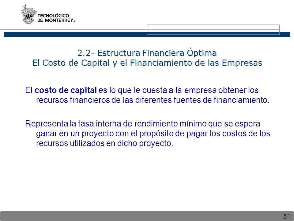 2.2- Estructura Financiera Óptima El Costo de Capital y el Financiamiento de las Empresas