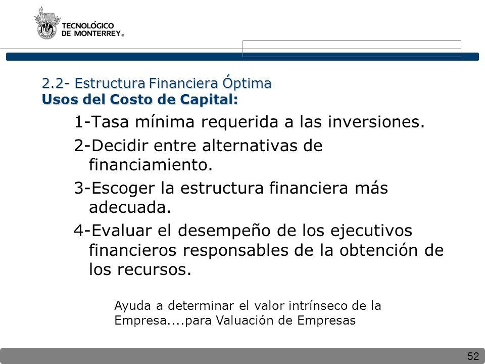 2.2- Estructura Financiera Óptima Usos del Costo de Capital: