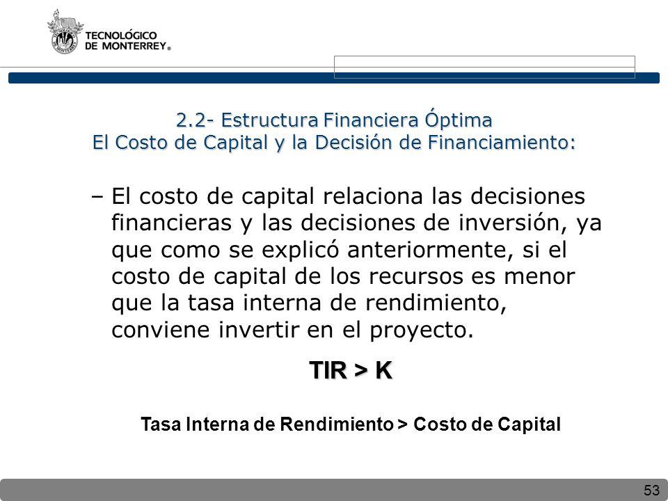 Tasa Interna de Rendimiento > Costo de Capital
