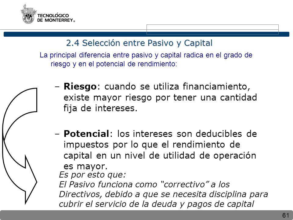 2.4 Selección entre Pasivo y Capital