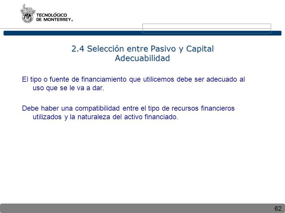 2.4 Selección entre Pasivo y Capital Adecuabilidad