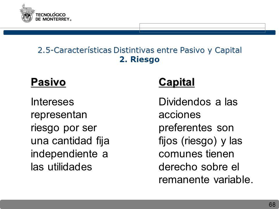 2.5-Características Distintivas entre Pasivo y Capital 2. Riesgo