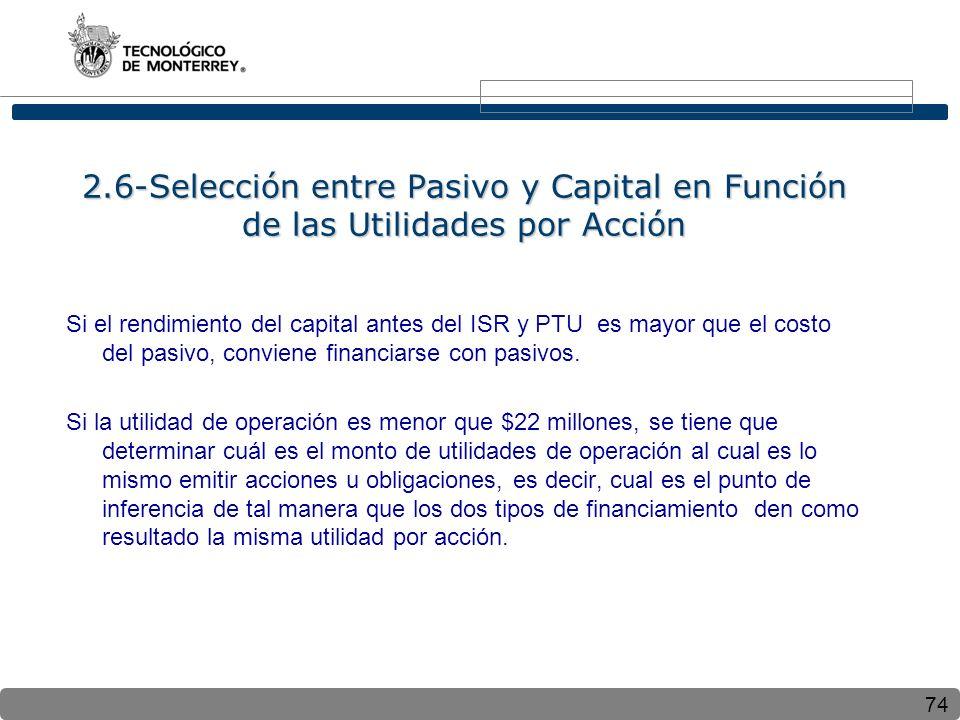 2.6-Selección entre Pasivo y Capital en Función de las Utilidades por Acción