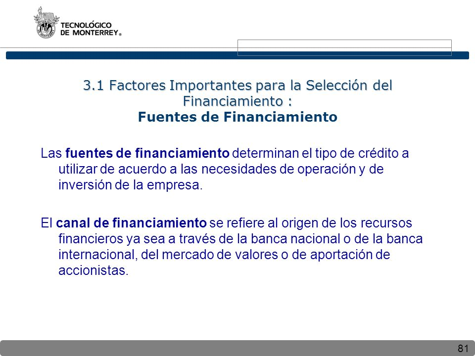 3.1 Factores Importantes para la Selección del Financiamiento : Fuentes de Financiamiento