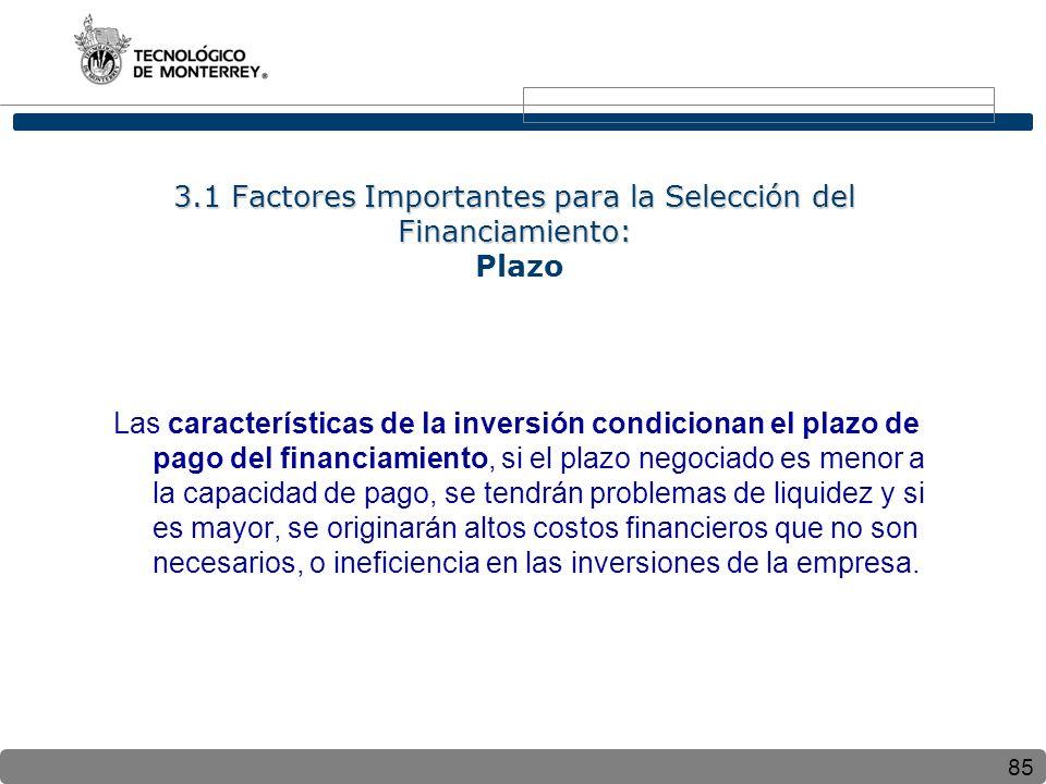 3.1 Factores Importantes para la Selección del Financiamiento: Plazo