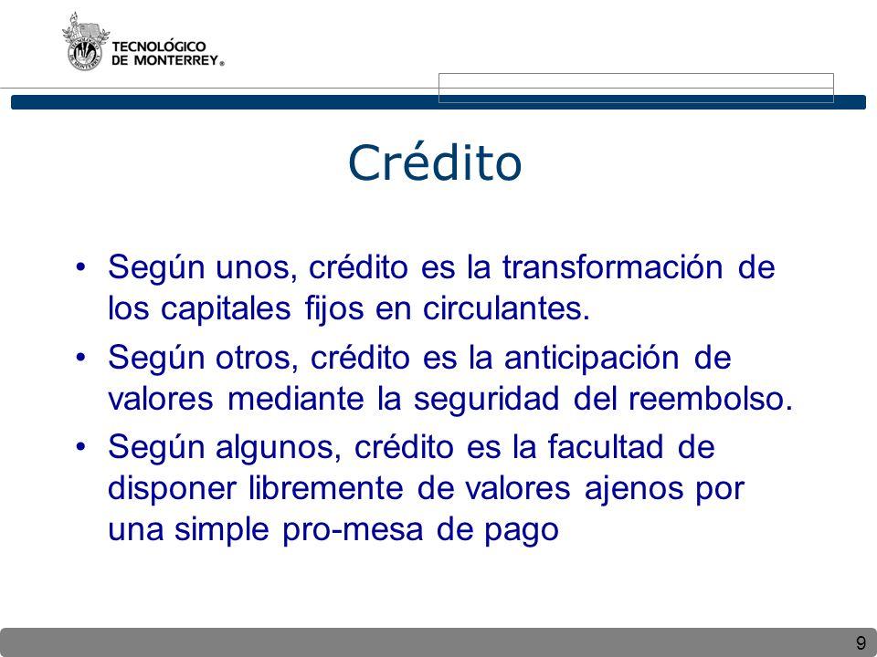 Crédito Según unos, crédito es la transformación de los capitales fijos en circulantes.
