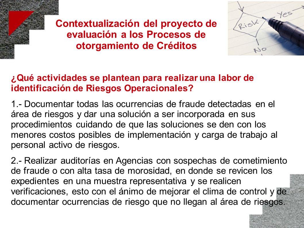 Contextualización del proyecto de evaluación a los Procesos de otorgamiento de Créditos