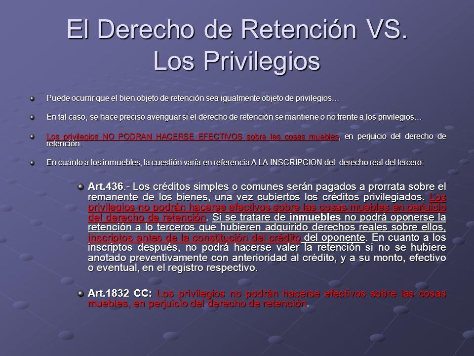 El Derecho de Retención VS. Los Privilegios