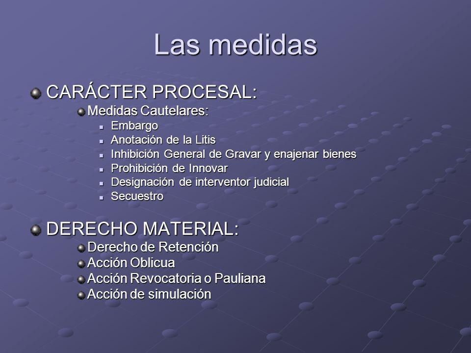 Las medidas CARÁCTER PROCESAL: DERECHO MATERIAL: Medidas Cautelares:
