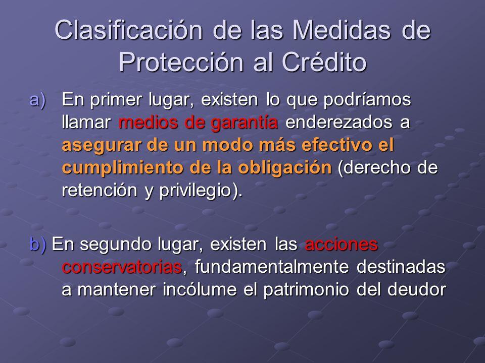 Clasificación de las Medidas de Protección al Crédito