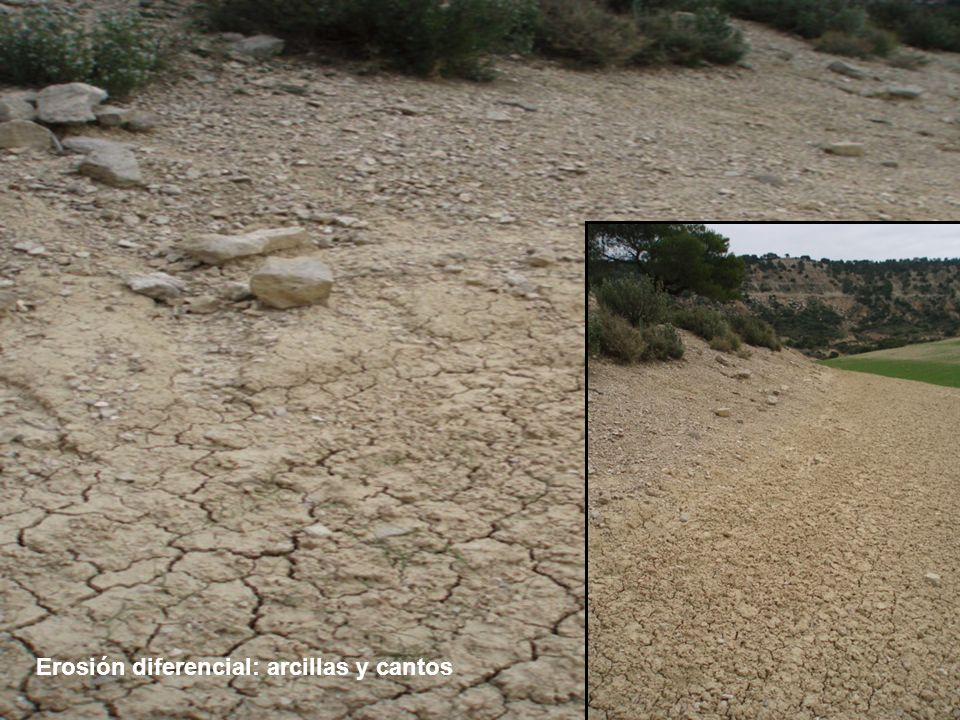 Erosión diferencial: arcillas y cantos
