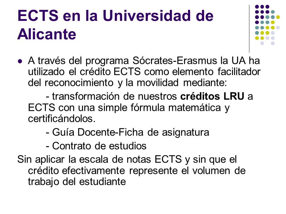 ECTS en la Universidad de Alicante