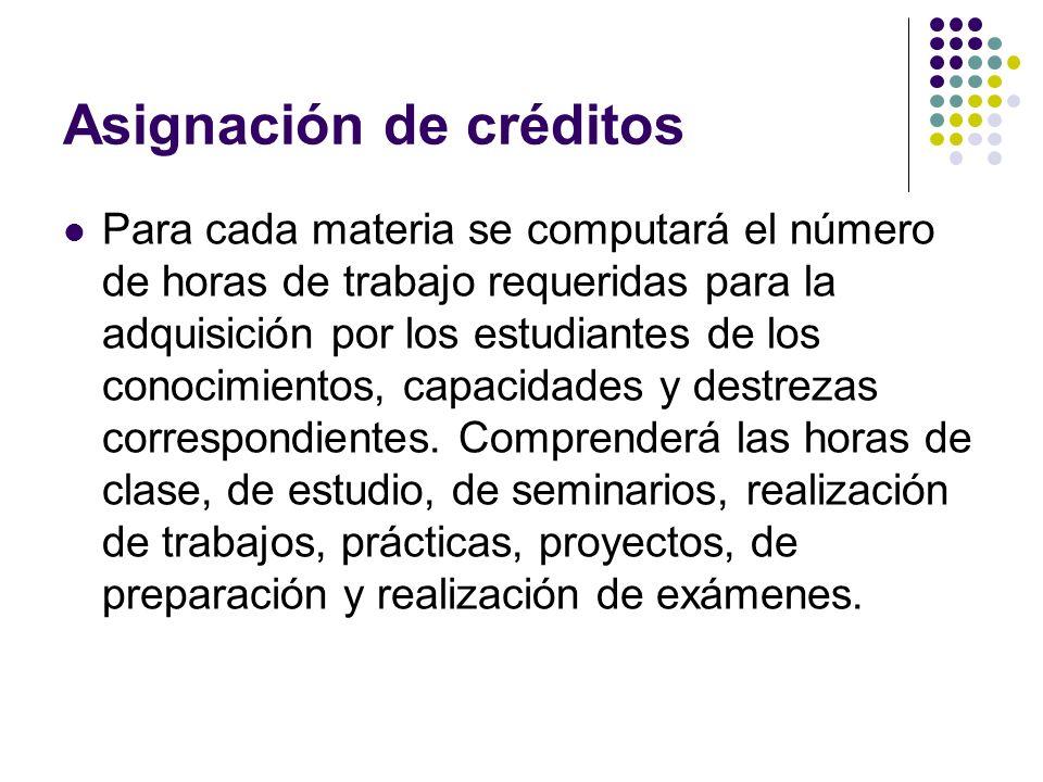 Asignación de créditos