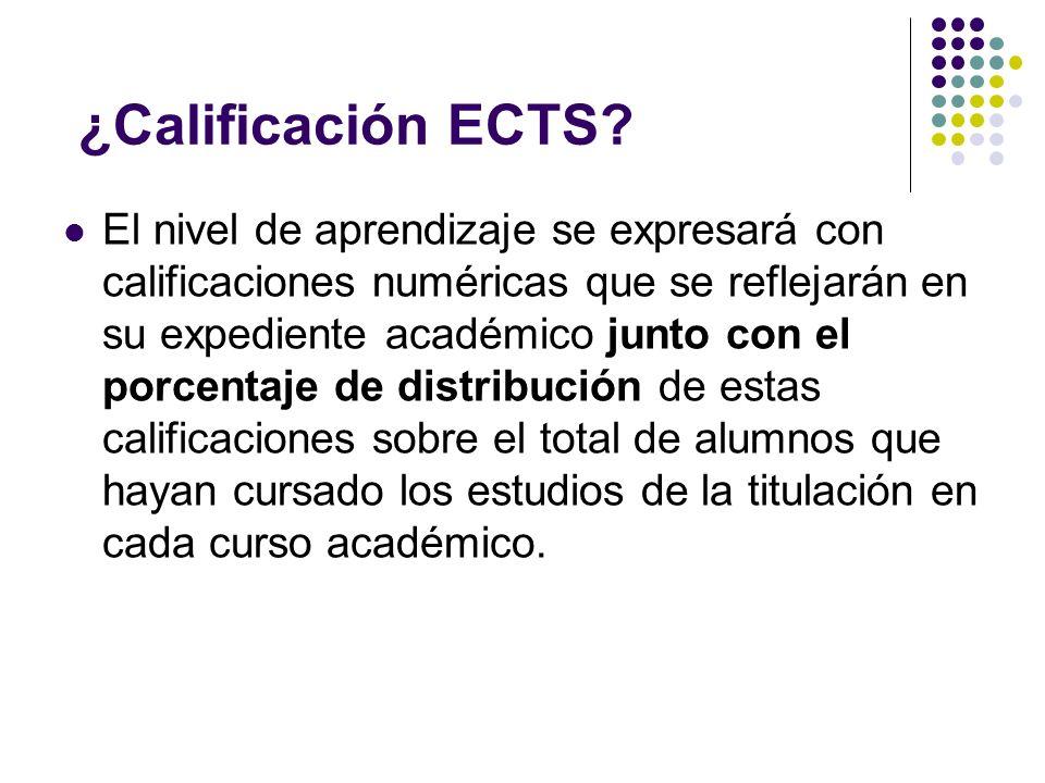 ¿Calificación ECTS