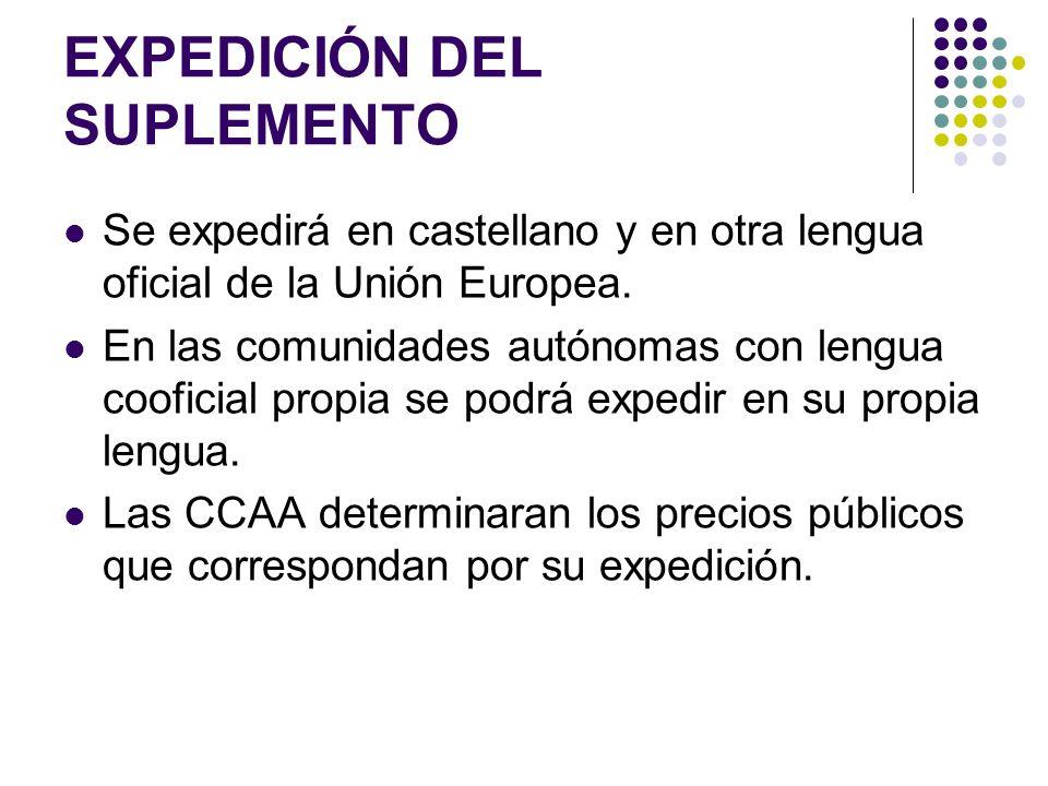 EXPEDICIÓN DEL SUPLEMENTO