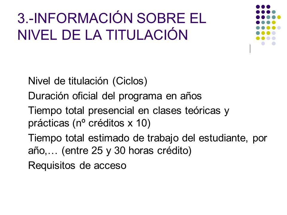 3.-INFORMACIÓN SOBRE EL NIVEL DE LA TITULACIÓN