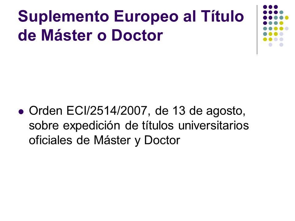 Suplemento Europeo al Título de Máster o Doctor