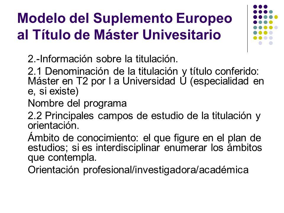 Modelo del Suplemento Europeo al Título de Máster Univesitario