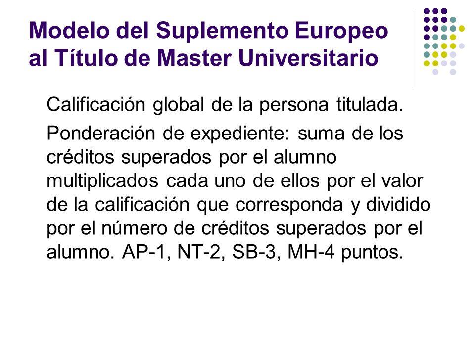 Modelo del Suplemento Europeo al Título de Master Universitario