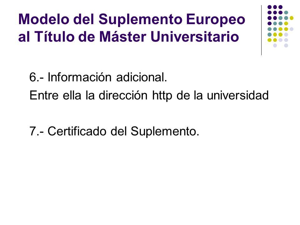 Modelo del Suplemento Europeo al Título de Máster Universitario