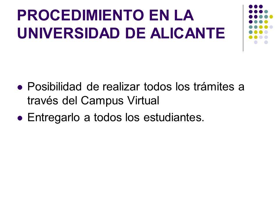 PROCEDIMIENTO EN LA UNIVERSIDAD DE ALICANTE