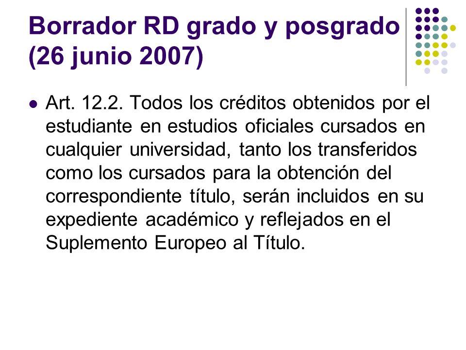 Borrador RD grado y posgrado (26 junio 2007)