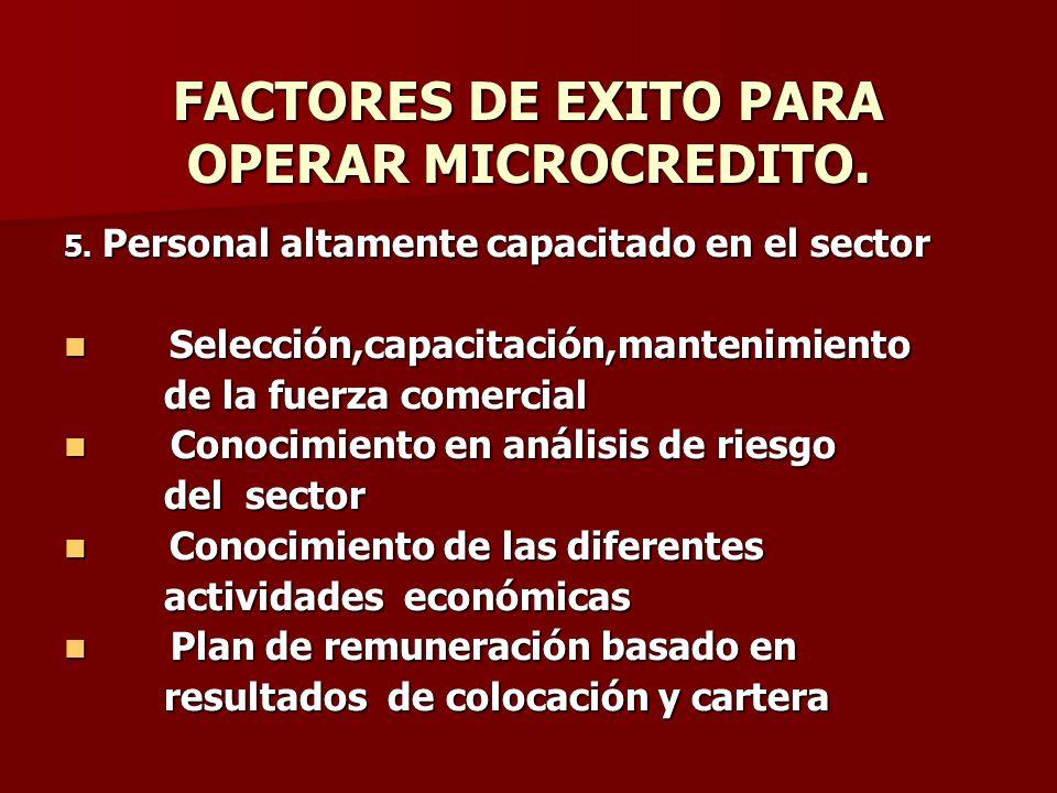 FACTORES DE EXITO PARA OPERAR MICROCREDITO.