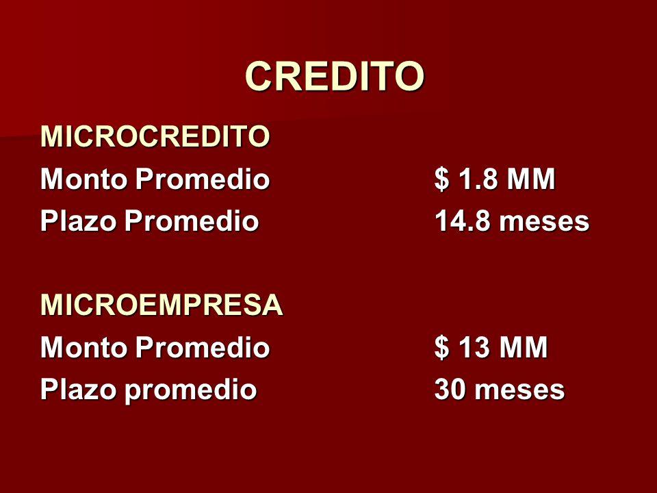 CREDITO MICROCREDITO Monto Promedio $ 1.8 MM Plazo Promedio 14.8 meses
