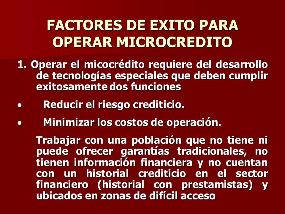 FACTORES DE EXITO PARA OPERAR MICROCREDITO