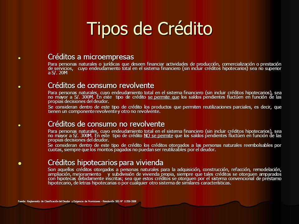 Tipos de Crédito Créditos hipotecarios para vivienda