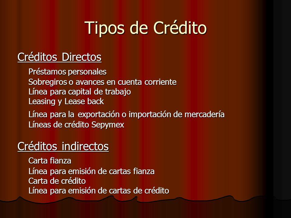 Tipos de Crédito Créditos Directos Préstamos personales