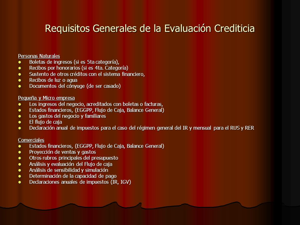 Requisitos Generales de la Evaluación Crediticia