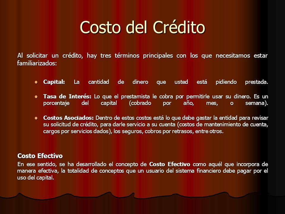 Costo del Crédito Al solicitar un crédito, hay tres términos principales con los que necesitamos estar familiarizados: